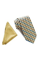 Wurkin Stiffs Plaid Tie And Pocket Square Set Yellow