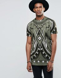 Jaded London Longline T Shirt With All Over Kaleidoscope Print Green