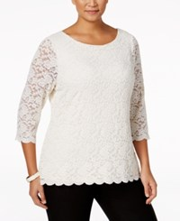 Charter Club Plus Size Lace Top Only At Macy's Vintage Cream
