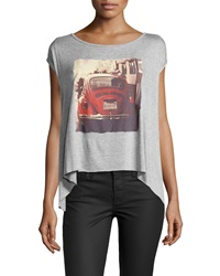 Vintage Havana Car Print Swingy Tee Gray