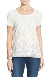 Women's Halogen Lace Front Short Sleeve Tee Ivory Cloud