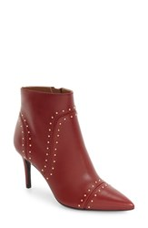 Calvin Klein Women's Grazie Studded Pointy Toe Bootie Garnet Leather