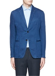 Armani Collezioni Dot Jacquard Linen Cotton Denim Soft Blazer Blue