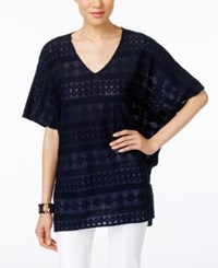 Alfani Lace Poncho Top Only At Macy's Modern Navy