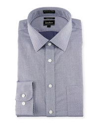 Neiman Marcus Trim Fit Non Iron Nailhead Dress Shirt Navy