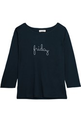 Chinti And Parker Friday Embroidered Cotton Jersey Top Navy