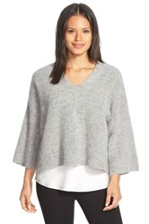 Eileen Fisher Boxy V Neck Sweater Gray