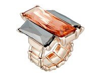Guess Three Emerald Shape Faceted Stone Stretch Ring Rose Gold Peach Ring