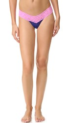 Hanky Panky Colorplay Low Rise Thong Midnight Blue Enchanted Rose