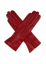 Dents Ladies Silk Lined Button Detail Leather Glove Berry