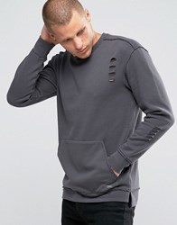 Jack And Jones Sweatshirt With Front Pocket In Distressed Jersey Asphalt Grey