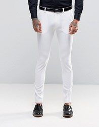 Asos Super Skinny Fit Suit Trousers In White White