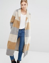 Vila Brushed Check Maxi Coat Dusty Camel Mix Beige