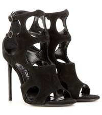 Tom Ford Cutout Suede Sandals Black