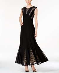 R And M Richards Sleeveless Lace Inset Mermaid Gown Black