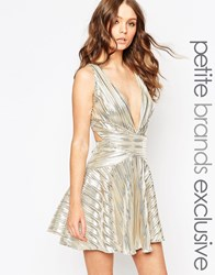John Zack Petite Metallic Prom Dress With Cross Back Gold