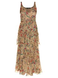Etro V Neck Sleeveless Floral Print Gown Cream Multi