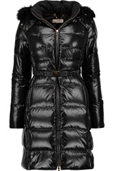 Tory Burch Chelsea Shearling Trimmed Quilted Shell Coat Black