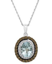Le Vian Aquamarine 1 2 5 Ct. T.W. And Chocolate Diamond 1 2 Ct. T.W. Pendant In 14K White Gold Blue