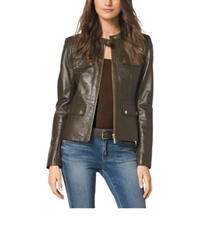 Michael Kors Four Pocket Leather Jacket Duffle