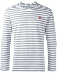 Comme Des Garcons Play Striped T Shirt Grey