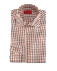 Isaia Windowpane And Check Shirt Brown Gray