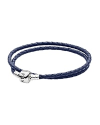 Pandora Design Pandora Bracelet Leather Double Wrap With Sterling Silver Clasp Moments Collection Navy