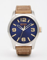 Boss Orange Paris Watch With Brown Leather Strap Brown