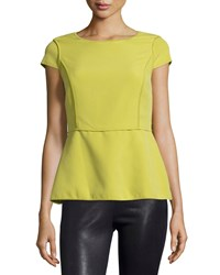 Halston Heritage Cap Sleeve Peplum Blouse Apple Green Women's Size 6