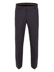 Alexandre Of England Striped Hopsack Tailored Fit Suit Trouser Navy