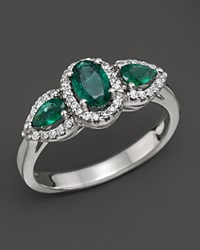 Bloomingdale's Emerald And Diamond Three Stone Ring In 14K White Gold White Green