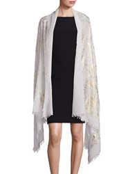Bajra Metallic Wool And Silk Wrap Ivory Gold Black Silver