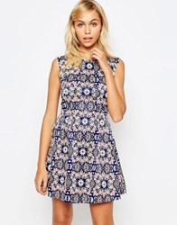 Madam Rage Skater Dress In Floral Print Neon Floral Multi