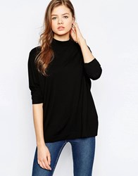 B.Young High Neck 3 4 Sleeve Top Black