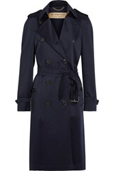 Burberry London Denverhil Silk Satin Trench Coat Navy