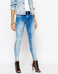 Replay Joy High Waist Faded Super Skinny Jeans Blue