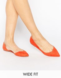 Asos Leapfrog Wide Fit Pointed Ballet Flats Red