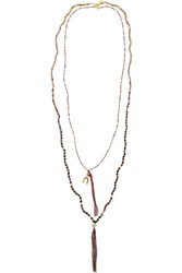 Chan Luu Set Of Two Gold Plated Multi Stone Beaded Necklaces Red