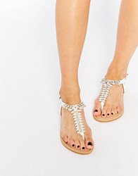 Forever Unique Maiden Embellished Toepost Flat Sandals Ivory