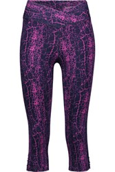 Yummie Tummie By Heather Thomson Candace Cropped Printed Stretch Cotton Leggings Magenta