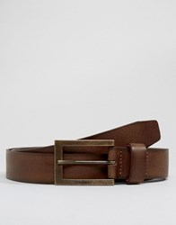 Esprit Leather Belt With Tonal Buckle Brown