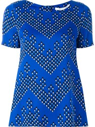 Diane Von Furstenberg Chevron Dot Printed Top Blue