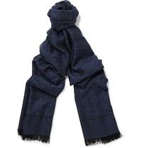 Isaia Cashmere And Silk Blend Scarf Blue