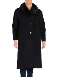 Jones New York Plus Faux Fur Trimmed Wool Blend Coat Black
