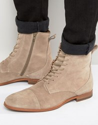 Zign Suede Lace Up Boots Stone