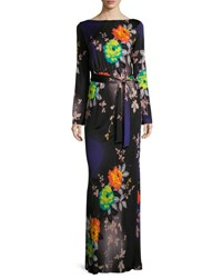 Etro Long Sleeve Floral Print Jersey Gown Black Purple Black Purple
