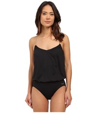Vince Camuto Polish Blouson Maillot W Removable Soft Cups Ebony Women's Swimsuits One Piece Black