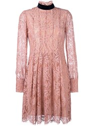 Msgm Long Sleeved Lace Dress Pink And Purple