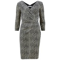 Gina Bacconi Velour Leopard Print Wrap Dress Black Multi