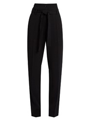 Vanessa Bruno Espagny High Rise Tapered Leg Crepe Trousers Black